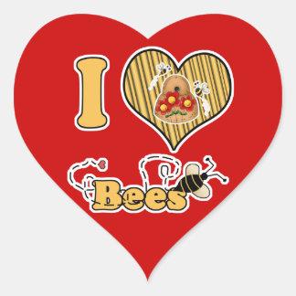 I abejas del corazón (amor) con la colmena pegatina en forma de corazón