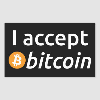 I Accept Bitcoin Rectangle Stickers