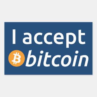 I Accept Bitcoin Rectangular Stickers