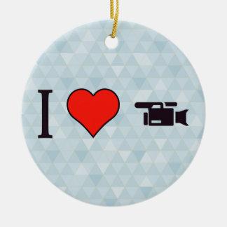 I acontecimientos de la grabación del corazón adorno navideño redondo de cerámica