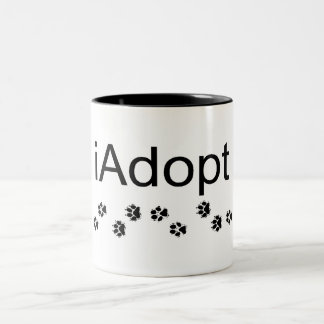 I Adopt Animals Two-Tone Coffee Mug