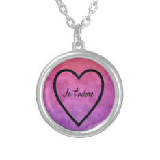 I Adore You In French: Je T'adore Heart Silver Plated Necklace at Zazzle