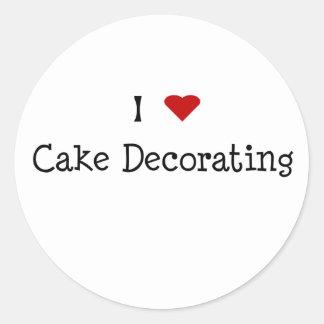 I adornamiento de la torta del corazón etiquetas redondas