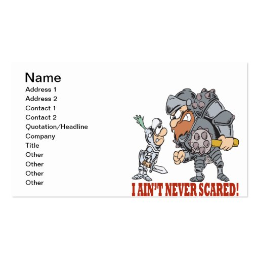 I Aint Never Scared Business Card Template