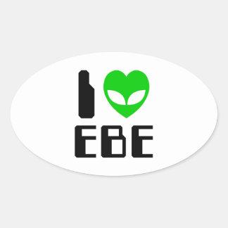 I Alien Heart EBE Oval Sticker