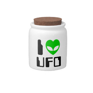 I Alien Heart UFO Candy Jar