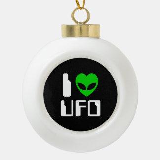 I Alien Heart UFO Ceramic Ball Christmas Ornament