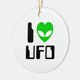 I Alien Heart UFO Ceramic Ornament