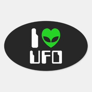 I Alien Heart UFO Oval Sticker