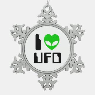 I Alien Heart UFO Snowflake Pewter Christmas Ornament