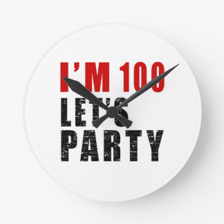 I A'm 100 Let's Party Round Clock