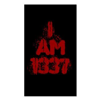 I Am 1337. Deep Red Text. Leet Gamer. Business Card