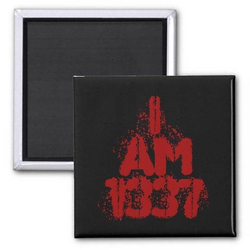 I Am 1337. Deep Red Text. Leet Gamer. Magnets