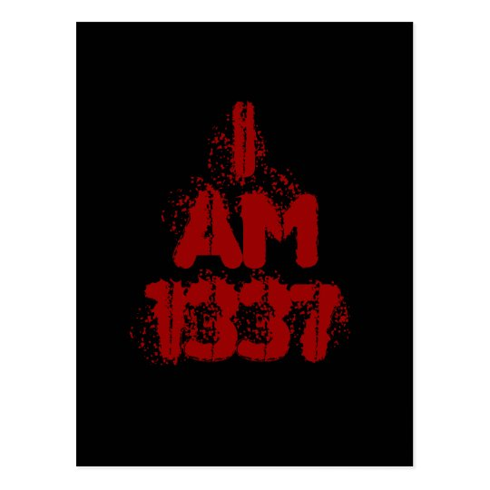 I Am 1337. Deep Red Text. Leet Gamer. Postcard