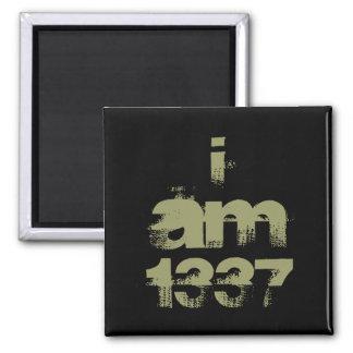 I Am 1337. Leet Gamer. Khaki Green Text. Custom 2 Inch Square Magnet
