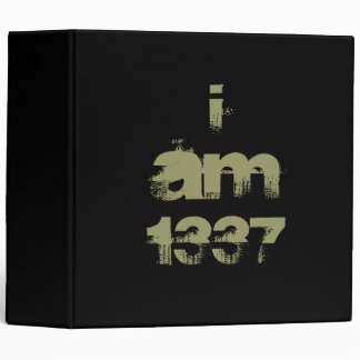 I Am 1337. Leet Gamer. Khaki Green Text. Custom Binder