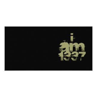 I Am 1337. Leet Gamer. Khaki Green Text. Custom Card