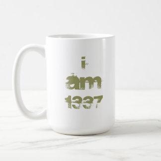I Am 1337. Leet Gamer. Khaki Green Text. Custom Coffee Mug
