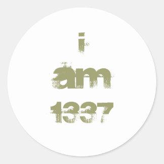 I Am 1337. Leet Gamer. Khaki Green Text. Custom Classic Round Sticker