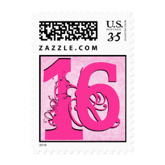 I am 16 Birthday Hot Pink and Pastel Pink Damask Postage