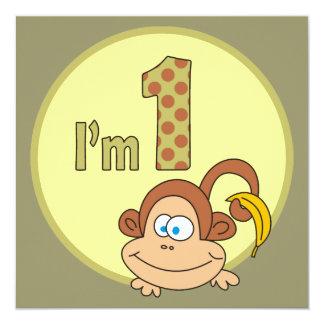 I am 1 Cute Monkey With Banana Party Invitations
