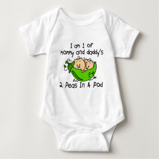 I Am 1 Of Mommy & Daddy's 2 Peas In A Pod Baby Bodysuit
