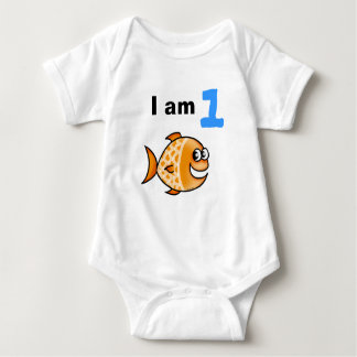 I am 1 year old today (cartoon orange fish) baby bodysuit