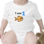 I am 1 year old today (cartoon orange fish) t shirts