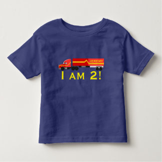 """"""" I am 2!""""  & Name with red semi truck. Toddler T-shirt"""