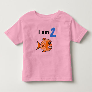 I am 2 years old today (cartoon orange fish) t shirt