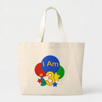 I Am 3 Birthday Jumbo Tote Bag