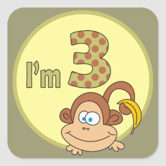 I am 3 Cute Monkey With Banana Square Stickers