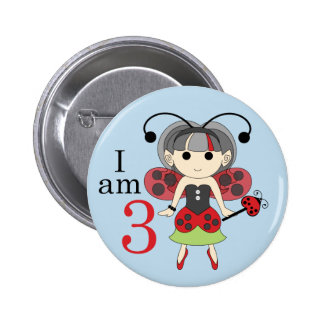 I am 3 Ladybug Fairy 3rd Birthday Blue Pin Button