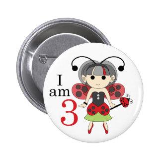 I am 3 Ladybug Fairy 3rd Birthday Pinback Button