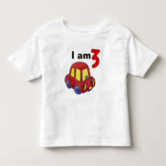 I am 3 (red toy car) toddler t-shirt