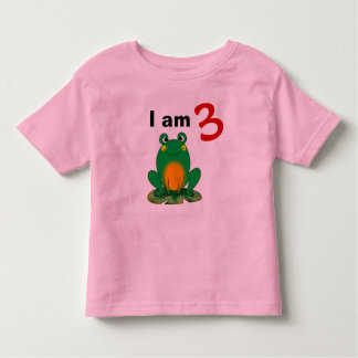 I am 3 years old today (cartoon green frog) toddler t-shirt