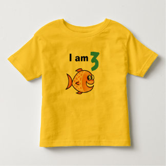 I am 3 years old today (cartoon orange fish) toddler t-shirt
