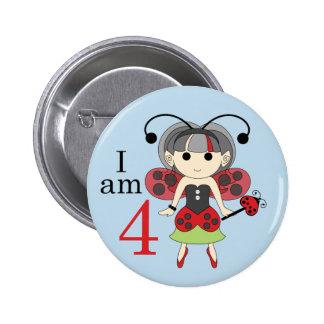 I am 4 Ladybug Fairy 4th Birthday Blue Pin Button