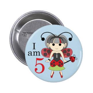 I am 5 Ladybug Fairy 5th Birthday Blue Pin Button