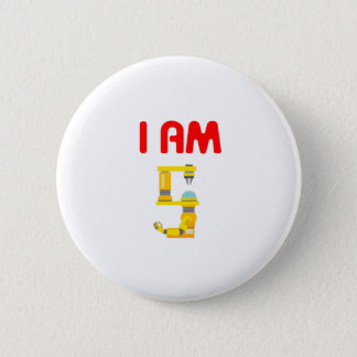 I am 5 Robots Evolution 5th Birthday 2012 Pinback Button