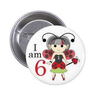 I am 6 Ladybug Fairy 6th Birthday Pinback Button