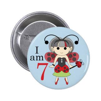 I am 7 Ladybug Fairy 7th Birthday Blue Pin Button
