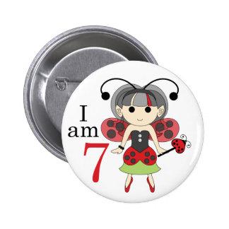I am 7 Ladybug Fairy 7th Birthday Pinback Button