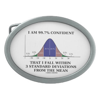 I Am 99.7% Confident Fall Within 3 Std Deviations Oval Belt Buckle