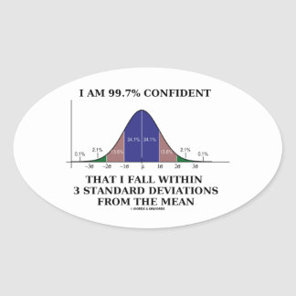 I Am 99.7% Confident Fall Within 3 Std Deviations Oval Sticker