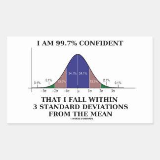 I Am 99.7% Confident Fall Within 3 Std Deviations Rectangular Sticker