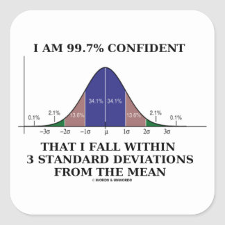 I Am 99.7% Confident Fall Within 3 Std Deviations Square Sticker