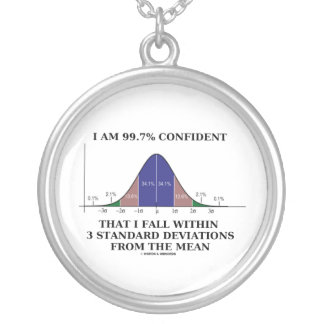 I Am 99.7 Confident I Fall Within 3 Std Deviations Silver Plated Necklace