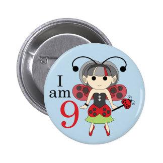 I am 9 Ladybug Fairy 9th Birthday Blue Pin Button