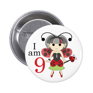 I am 9 Ladybug Fairy 9th Birthday Pinback Button